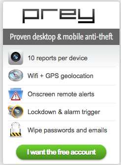 Prey Tool To Locate Your Stolen Laptop, Smartphone or Tablet